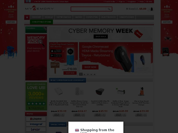Screenshot of the shop